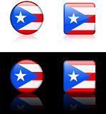 Puerto Rico Flag Buttons on White and Black Background