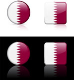 Qatar Flag Buttons on White and Black Background