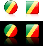 Republic of Congo Flag Buttons on White and Black Background