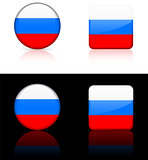 russia Flag Buttons on White and Black Background