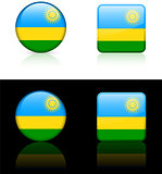 Rwanda Flag Buttons on White and Black Background