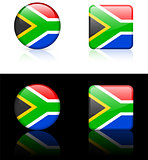 South Africa Flag Buttons on White and Black Background