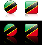 Saint Kitts  Nevis Flag Buttons on White and Black Background