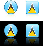 Saint Lucia Flag Buttons on White and Black Background