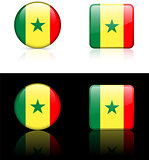senegal Flag Buttons on White and Black Background