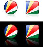Seychelles Flag Buttons on White and Black Background