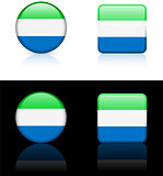 Sierra Leone Flag Buttons on White and Black Background