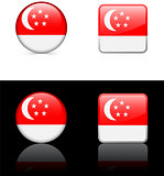 singapore Flag Buttons on White and Black Background