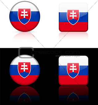 Slovakia Flag Buttons on White and Black Background