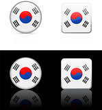 south Korea Flag Buttons on White and Black Background