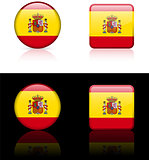 Spain Flag Buttons on White and Black Background