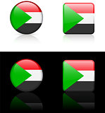 Sudan Flag Buttons on White and Black Background