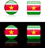 suriname Flag Buttons on White and Black Background