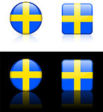Sweden Flag Buttons on White and Black Background