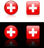 swiss Flag Buttons on White and Black Background