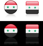 Syria Flag Buttons on White and Black Background