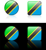 Tanzania Flag Buttons on White and Black Background