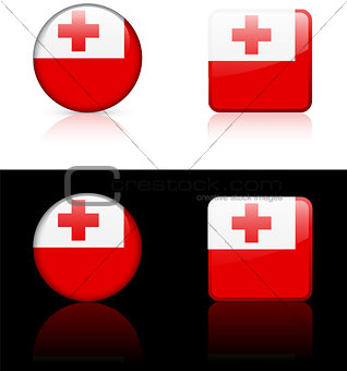 Tonga Flag Buttons on White and Black Background