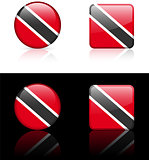 Trinidad Flag Buttons on White and Black Background