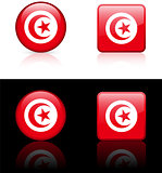 Tunisia Flag Buttons on White and Black Background