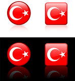 Turkey Flag Buttons on White and Black Background