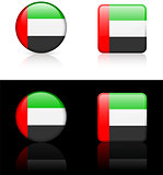 United Arab Emirates Flag Buttons on White and Black Background