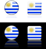Uruguay Flag Buttons on White and Black Background