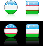 uzbekistan Flag Buttons on White and Black Background