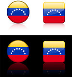 Venezuela Flag Buttons on White and Black Background