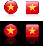 Vietnam Flag Buttons on White and Black Background