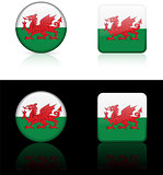 Wales Flag Buttons on White and Black Background