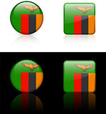 Zambia Flag Buttons on White and Black Background
