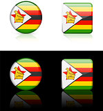 Zimbabwe Flag Buttons on White and Black Background