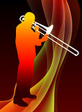 Trumpet Musician on Abstract Flame Background