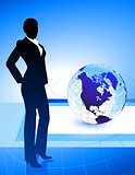 Businesswoman on Abstract Globe Background