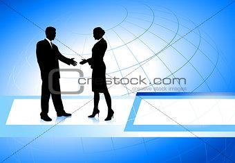 Business Couple on Globe Background