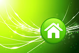 House Button on Green Abstract Light Background