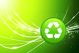 Recycle Button on Green Abstract Light Background
