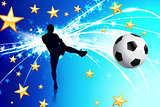 Soccer Player on Abstract Blue Light Background