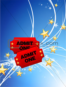 Admission Tickets on Abstract Modern Light Background