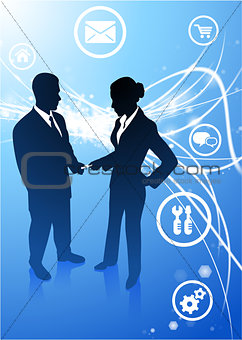 Business Couple on Abstract Modern Light Background