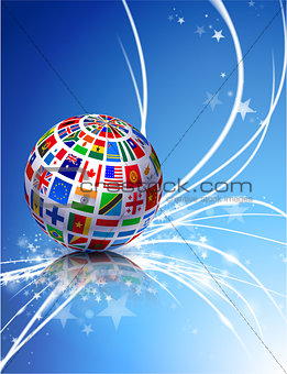 Flag Globe on Abstract Modern Light Background