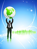 Businessman Holding up Globe on Internet Background