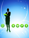Businesswoman on Abstract Light Background with Buttons