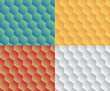 Retro geometric hexagon honeycomb seamless pattern set
