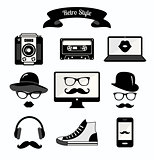 Black and White Vintage Retro Hipster Style Media Icons