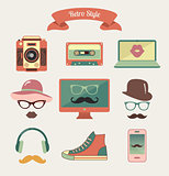 Vintage Retro Hipster Style Media Icons