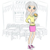 Vector beautiful fashion girl with popcorn