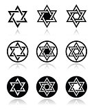 Jewish, Star of David icons set isolated on white