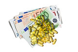 Cod liver oil. Gel capsules with euro currency